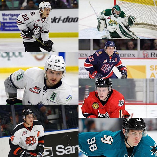 With @nhl Development camps just around the corner we would like to wish good luck to @brandonhagel going to @buffalosabres camp, @c_hart70 going to @philadelphiaflyers camp, @nolan.volcan going to @penguins camp, @samsteel_23 going to @anaheimducks camp, @claykirichenko going to @lakings camp, @brett.pollock going to @nhlflames camp and @colbymcauley going to @sanjosesharks camp.